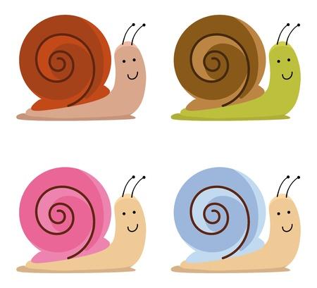 nacktschnecke: Set von niedlichen Schnecken Illustration
