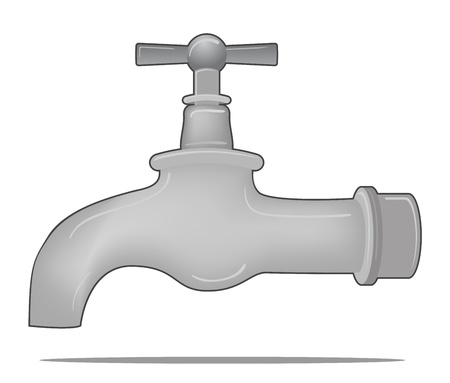silver water tap valve Vector