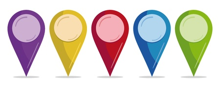 map marker: set of color pins