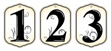 set of vintage number tags Иллюстрация