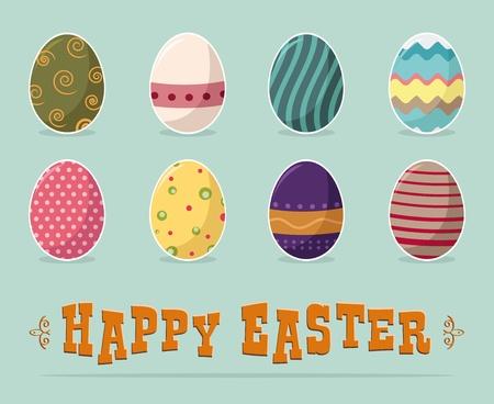 huevo caricatura: feliz pascua de texto y los huevos frescos