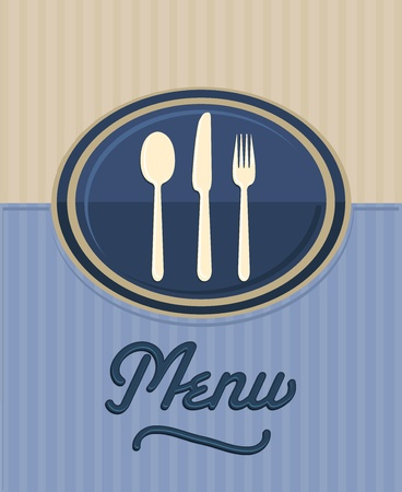 menu: vintage restaurant front menu Illustration
