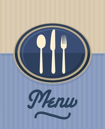 vintage restaurant front menu Illustration