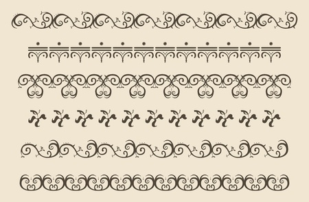 krullen elementen vintage retro-stijl Stock Illustratie