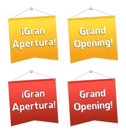 Eröffnung hängen Banner, Spanisch und Englisch Standard-Bild - 12806924