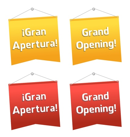 grand sale: grand opening hanging banners, Spanish and English Illustration
