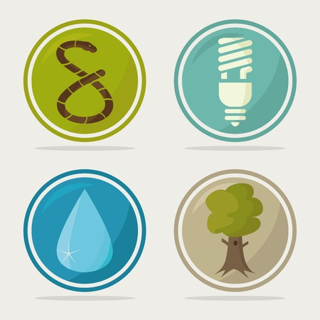 set of four retro ecology icons Vector