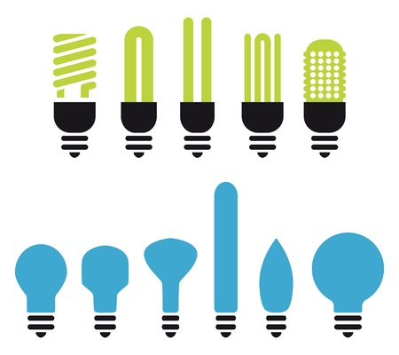 led: set of green an no saving bulbs silhouettes Illustration