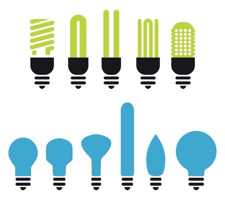 bombilla: un conjunto de bombillas verdes no ahorro siluetas Vectores