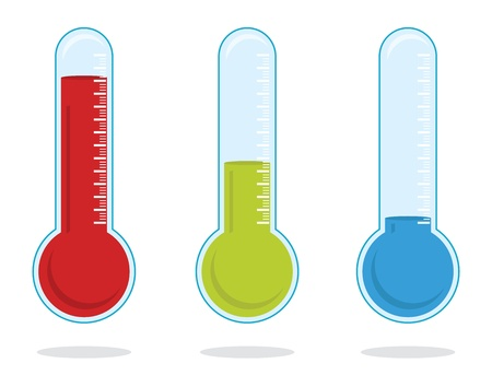 scale icon: set of three color thermometers