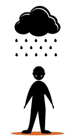 sad men with black cloud