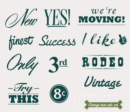 try: set of vintage ad texts