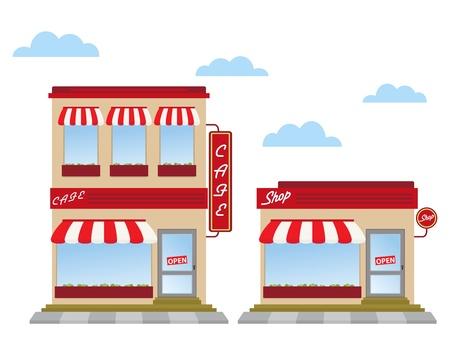 store window: cafe en winkel winkel fronten