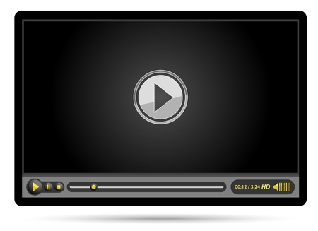 play button: media video black player Illustration