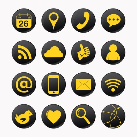 set of social yellow icons