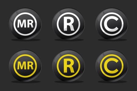 black registred copyright mr icons Stock Vector - 13620961