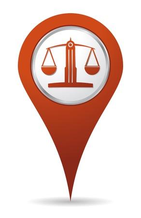 elhelyezkedés: Helyszín ügyvéd egyensúlyt ikon, az igazságosság