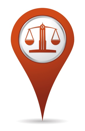 tribunal: location lawyer balance icon, justice Illustration