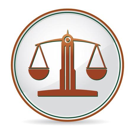 justice scales: la ley icono de equilibrio de color marr�n Vectores