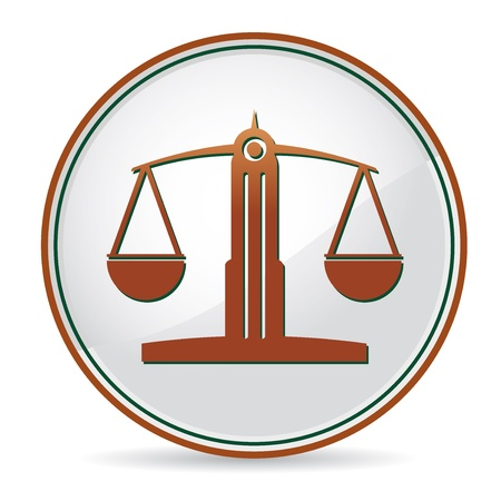 justice scales: law balance icon in brown color