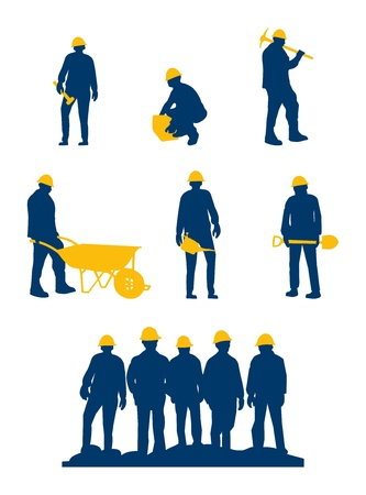 construction team: workers silhouette with yellow tools and helmet Illustration