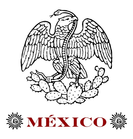 mexican eagle with hats of liberty Vector