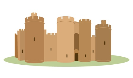 castle drawing in perspective Vector