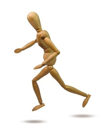 wooden mannequin: wooden dummy runing fast
