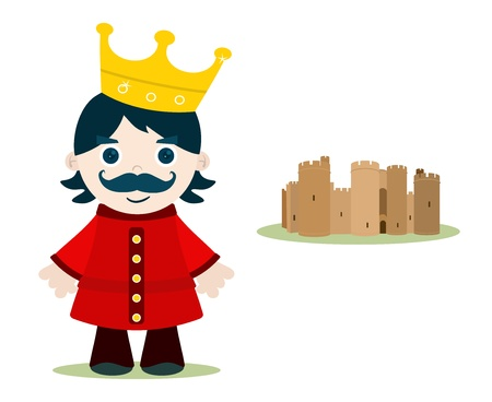 kid king character and little castle Vector