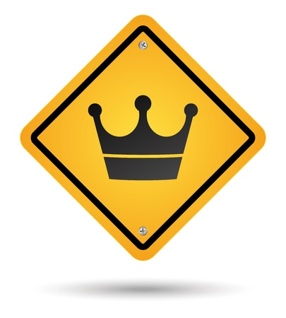yellow crown road sign isolated Illustration