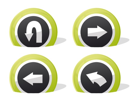 u turn sign: green return and arrow 3d icons Illustration