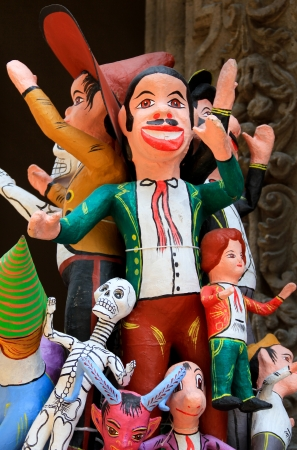 papier mache: mexican paper mache color characters Stock Photo