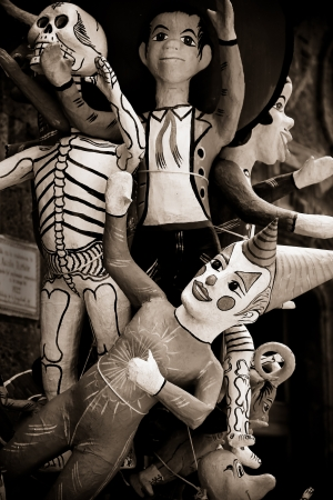 sepia mexican paper mache toys photo