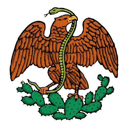 color eagle and snake from mexican flag Ilustração