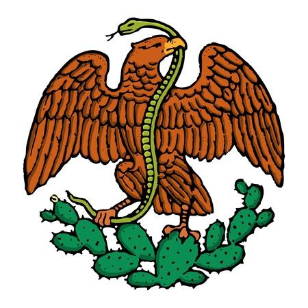 drapeau mexicain: couleur aigle et serpent de drapeau mexicain Illustration