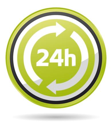 horas: abierto las 24 horas icono verde Vectores