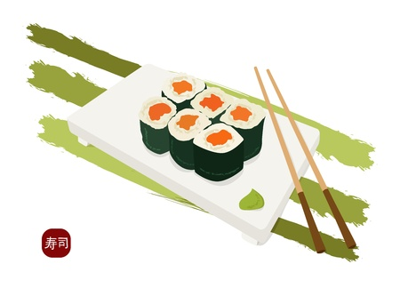 plate of food: shushi maki plate , chopsticks and wasabi Illustration