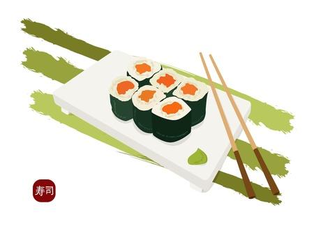 shushi maki plate , chopsticks and wasabi Vectores