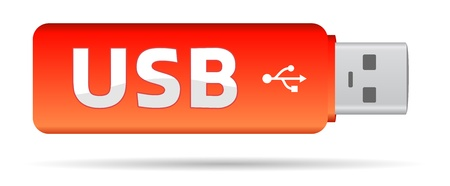 red usb key flash with text Vector