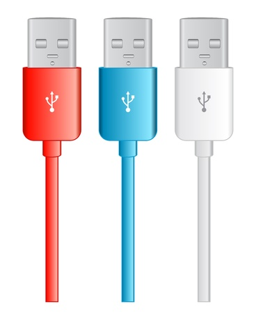 usb cable: three color usb bus, red, blue white