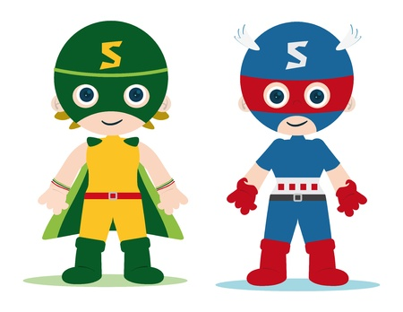 female and male superheroes kids character Vettoriali