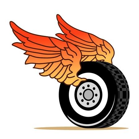 赤い翼を持つ車のタイヤ  イラスト・ベクター素材