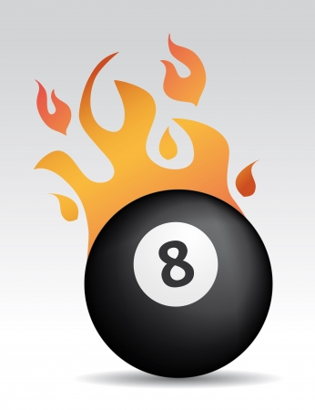 eight ball: eight ball with fire flames