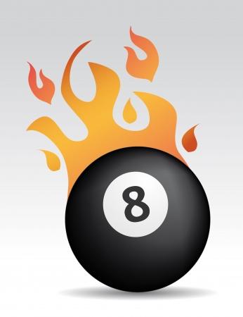 bola ocho: ocho a la pelota con llamas de fuego