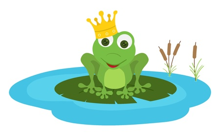 prince frog seat in a leaf poud Vector