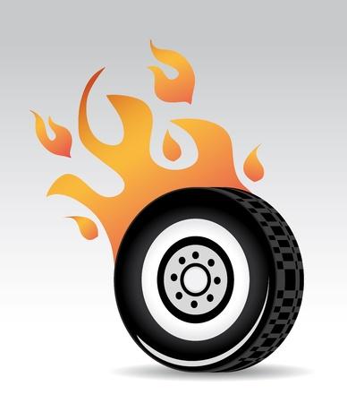 burning: tire burning red orange flames, fast car