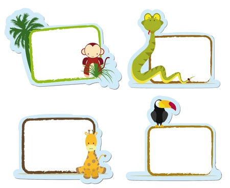 four animal stickers for school, monkey, snake, giraffe and toucan Vector