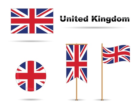 union jack: set of four united kingdom flags