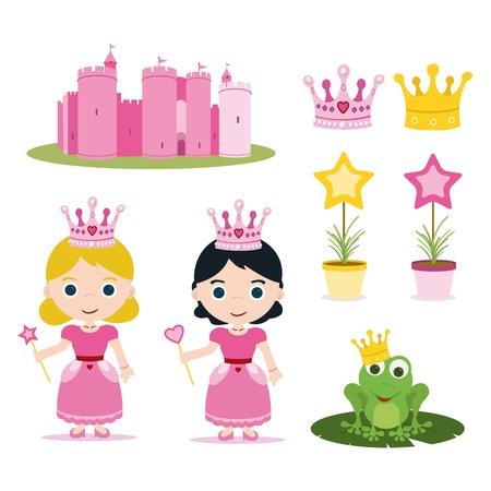castillos de princesas: juego de princesa de cuento de color rosa para los partidos Vectores