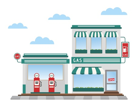 green gas station pumps and shop Vector